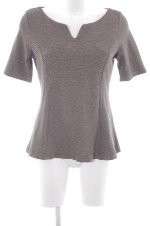 Comma Camisa tejida beige-negro estampado de zigzag look casual