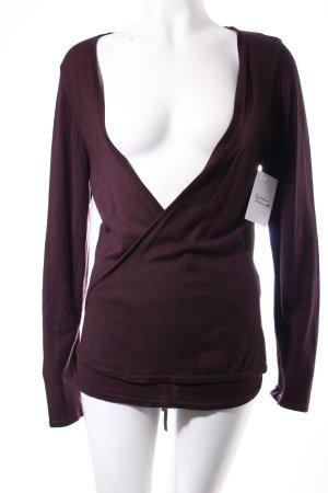 Comma Cache-cœur en tricot bordeau style décontracté