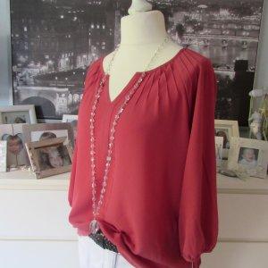 Comma * Süße Crepe Tunika Business Bluse * himbeer rot * 42 wNEU