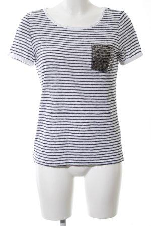Comma T-Shirt weiß-schwarz Streifenmuster Casual-Look