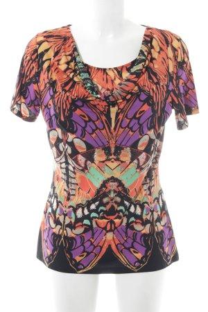 Comma T-Shirt dunkelorange-lila Allover-Druck Casual-Look