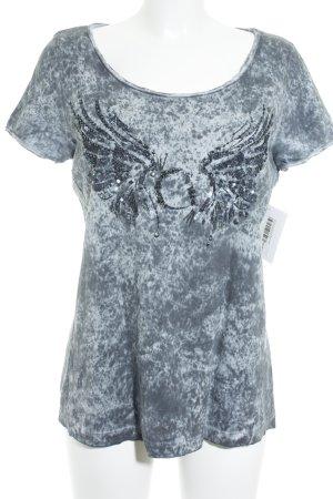 Comma T-Shirt graublau-weiß Batikmuster Biker-Look