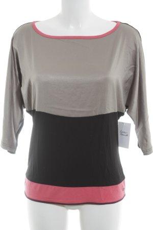Comma T-Shirt schwarz-graubraun Colourblocking Casual-Look