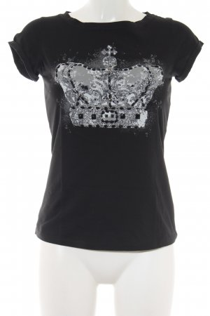 Comma T-Shirt schwarz-hellgrau platzierter Druck Casual-Look
