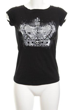 Comma T-Shirt schwarz Motivdruck Biker-Look