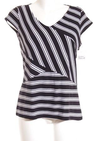 Comma T-Shirt schwarz-weiß Streifenmuster Casual-Look