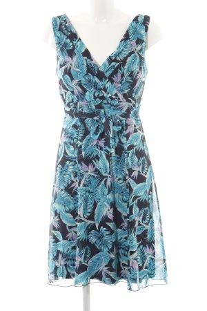 Comma Trägerkleid schwarz-türkis florales Muster Casual-Look