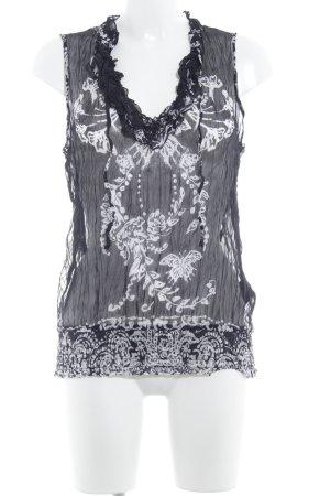 Comma Blouse transparente noir-blanc motif abstrait style décontracté