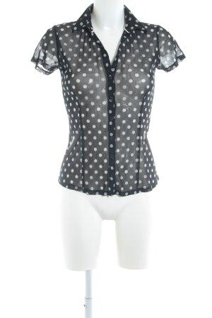 Comma Blouse transparente noir-blanc motif de tache style romantique