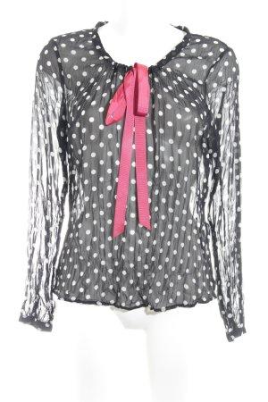 Comma Transparenz-Bluse schwarz-weiß Punktemuster Transparenz-Optik