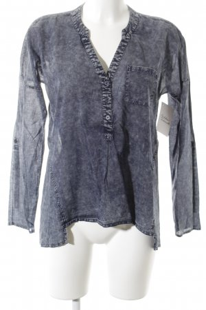 Comma Transparenz-Bluse weiß-dunkelblau meliert Jeans-Optik