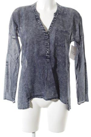 Comma Blouse transparente blanc-bleu foncé moucheté Aspect de jeans