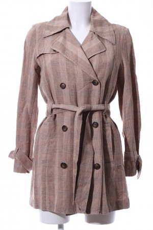 Comma Trenchcoat wollweiß-braun Karomuster Casual-Look