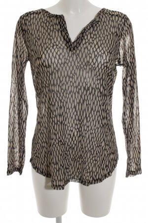 Comma Tunikabluse creme-schwarz abstraktes Muster Casual-Look