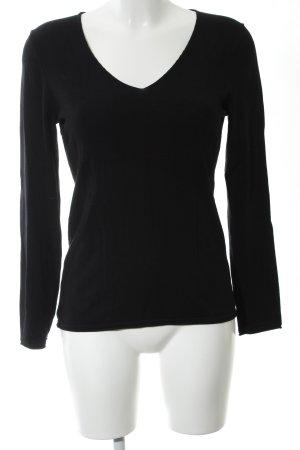 Comma Jersey con cuello de pico negro look casual