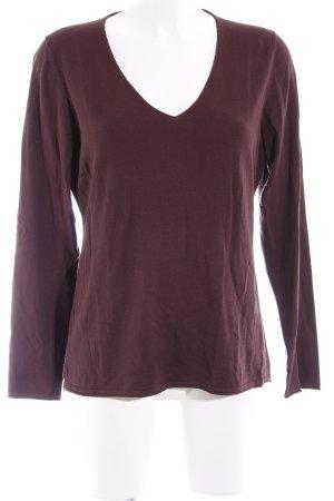 Comma V-Ausschnitt-Pullover dunkelbraun Casual-Look