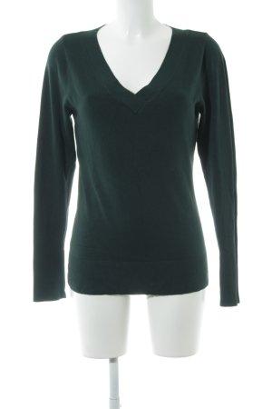 Comma V-Ausschnitt-Pullover dunkelgrün Casual-Look