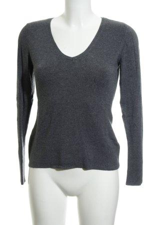 Comma V-Ausschnitt-Pullover grau Casual-Look