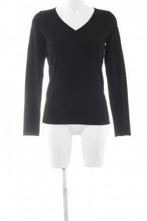 Comma V-Ausschnitt-Pullover schwarz Casual-Look