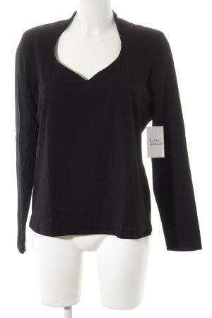 Comma V-Ausschnitt-Pullover schwarz klassischer Stil