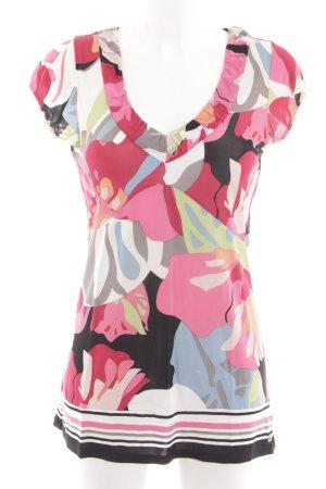 Comma V-Ausschnitt-Shirt Blumenmuster Casual-Look