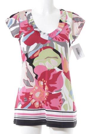 Comma V-Ausschnitt-Shirt abstraktes Muster sportlicher Stil