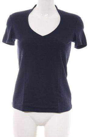 Comma V-hals shirt blauw casual uitstraling