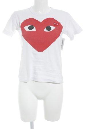 Comme des Garçons T-Shirt weiß-neonrot Motivdruck Casual-Look