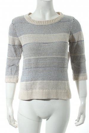 Comptoir des Cotonniers Grobstrickpullover creme-stahlblau abstraktes Muster