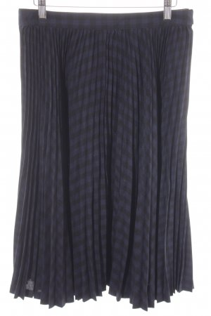 Comptoir des Cotonniers Plisseerock dunkelblau-schwarz Karomuster Elegant