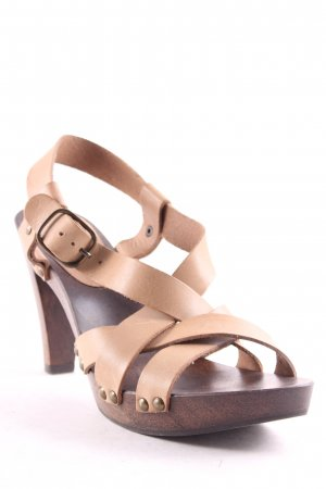 Comptoir des Cotonniers Strapped High-Heeled Sandals oatmeal-black brown