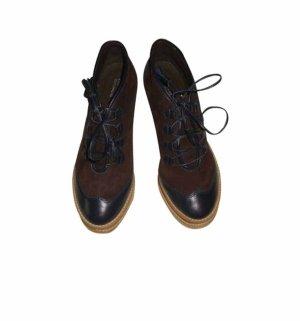 Comptoir des Cotonniers Schuhe Leder Hochfront Pumps Schnürer braun blau 37 neu