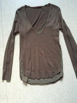 Comptoir des cotonniers - Sehr edler Pullover mit Seiden-Unterhemd in braun