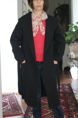 Abrigo con capucha negro Poliéster
