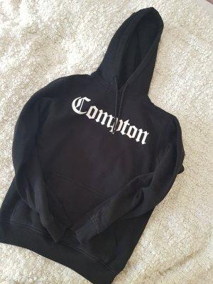 Capuchon sweater wit-zwart