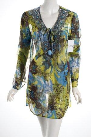 Concept K Tunikabluse neonblau-hellgrün abstraktes Muster extravaganter Stil