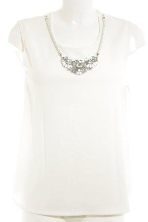 Conleys ärmellose Bluse wollweiß-silberfarben minimalistischer Stil
