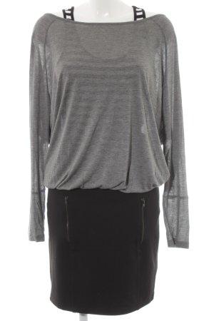 Conleys Vestido de tela de jersey negro-gris moteado look casual