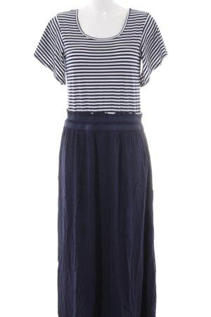 Conleys Kurzarmkleid dunkelblau-wollweiß Streifenmuster Elegant