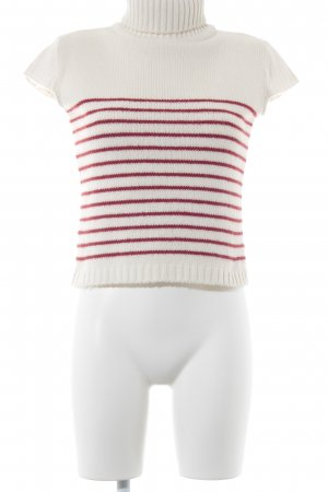 Conleys Short Sleeve Sweater natural white-dark red striped pattern casual look