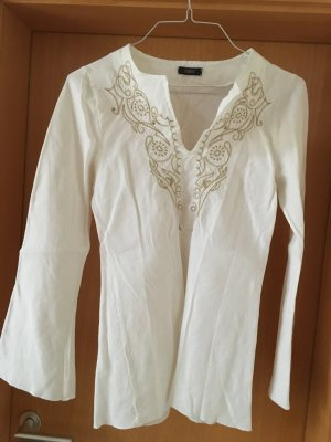 Conleys Blusa de lino blanco-color oro