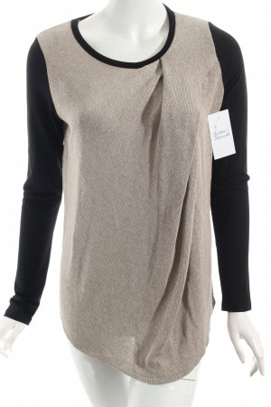 Conleys Strickpullover schwarz-beige Materialmix-Look