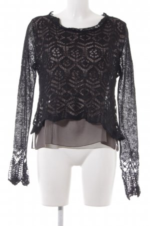 Conleys Camisa tejida negro-marrón grisáceo modelo de punto flojo look casual