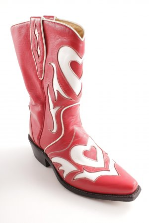 Conleys Western Boots red-white mixed pattern extravagant style