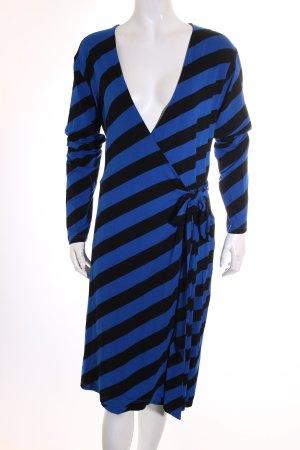 Conleys Wickelkleid blau-schwarz Streifenmuster schlichter Stil
