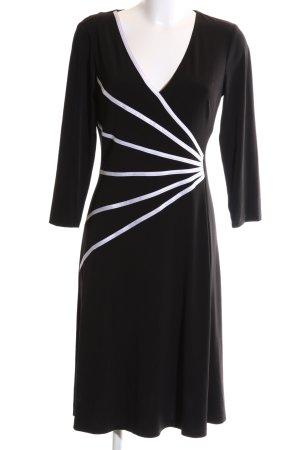 Connected Apparel Robe en jersey noir-blanc motif graphique style d'affaires