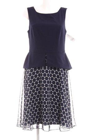 Connected Apparel Peplum jurk donkerblauw-wolwit gestippeld patroon