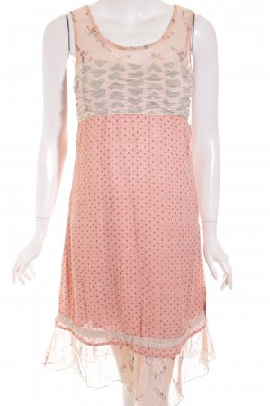 Container Dress pink-sage green spot pattern transparent look