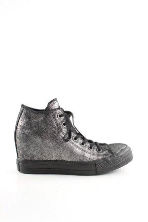 Converse Absatz Sneaker silberfarben-schwarz Casual-Look