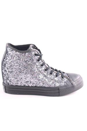 Converse Absatz Sneaker silberfarben-schwarz Glitzer-Optik